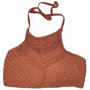 Xhilaration terra cotta crochet halter bikini top